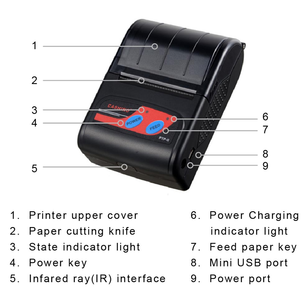 58mm mini portable bluetooth thermal printer for mobile laptop tablet